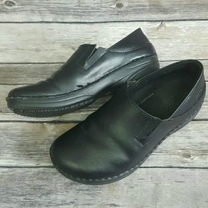 Spring Step Black Leather Manila-B Clogs Shoes 6 M